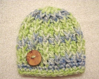 Crochet Baby Beanie Size Newborn Boy Chunky Rib Stitch Blue Green ON SALE!!