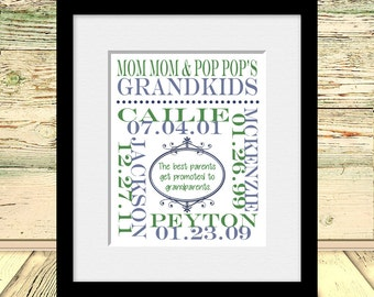 Grandparents Gift, Grandchildren Names and Birthdate Wall Print, Customized Gift for Grandparents, Personalized Grandparent Print