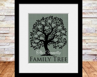 Family Tree Poster, Family Christmas Gift, Family Tree Wall Print, Anniversary Gift, Special Occasion Gift, Grandparent or Parents Gift,
