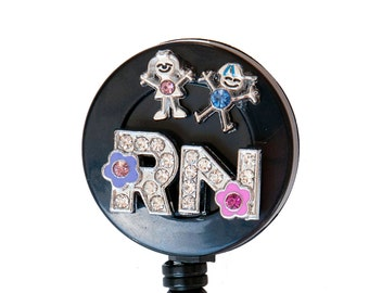 New Custom Bling Rhinestone 3D RN Labor and Delivery Badge Reel Retractable ID Badge Holder