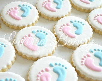 One dozen (12) Gender Reveal Cookies Baby Shower Favors Gifts