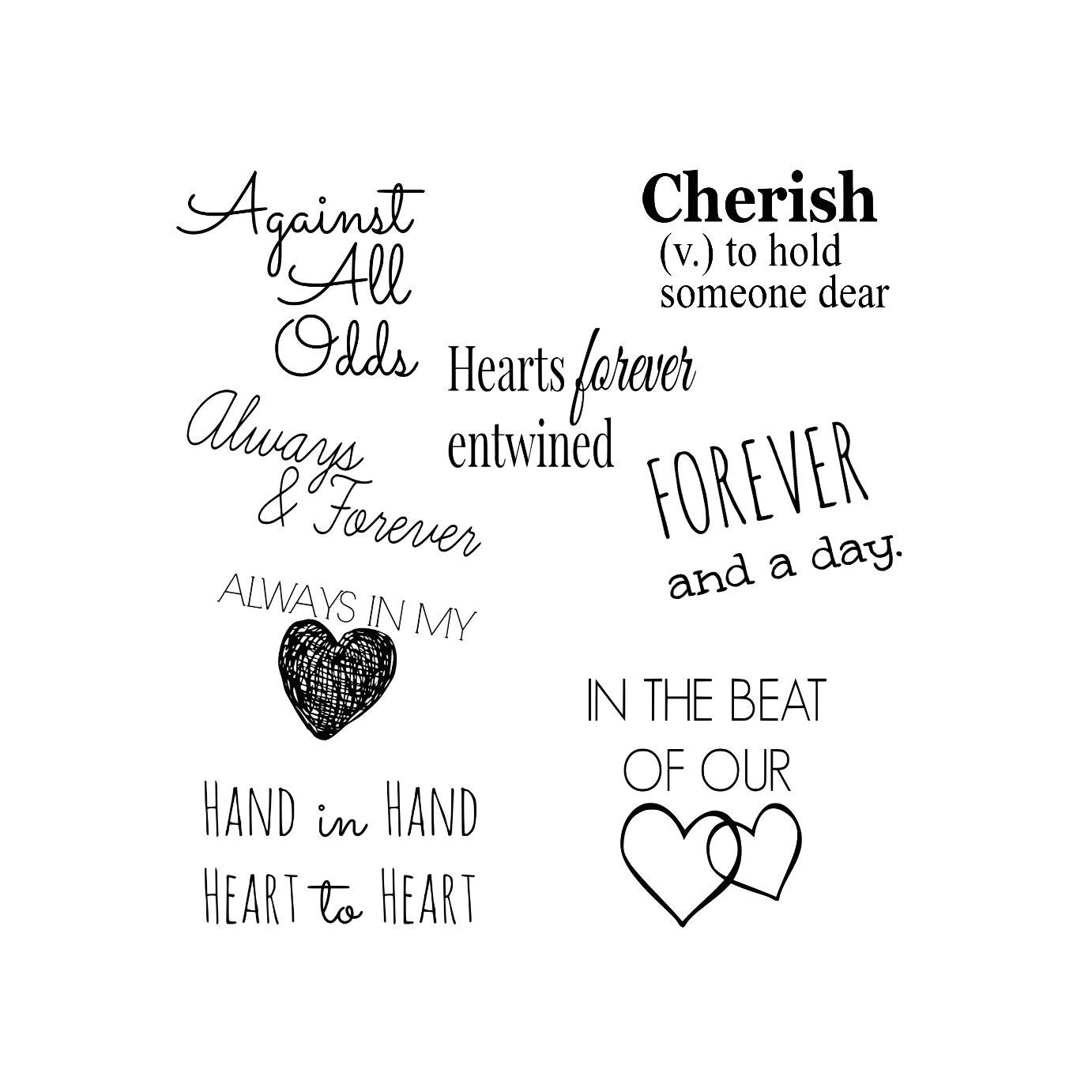 Wedding Marriage Love Word Art Collection 8 Quotes Words and
