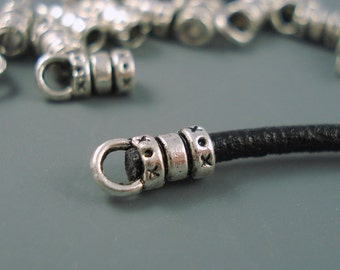 2.5MM End Cap, Ten Silver Caps for Leather or Cord (CAP2-002)