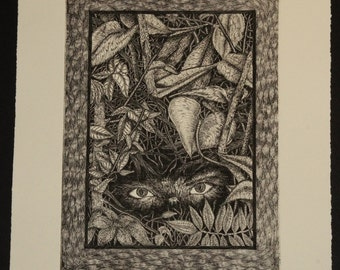 """13"""" x 16""""  limited edition print from a zinc engraving"""