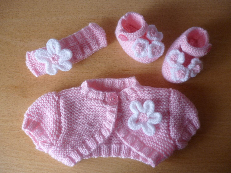 PDF Knitting pattern for baby girls Bolero Headband & Shoes