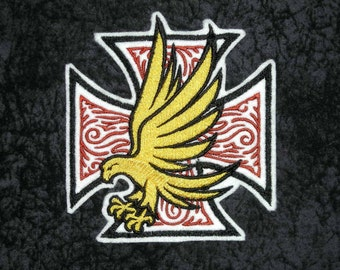 "Eagle and Cross,  Iron On Patch, Large 4 1/2"" X 5"" High Golden Eagle, Celtic Style Cross, Embroidered Patch, Biker, Motorcycle Patch, Tattoo"