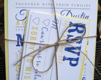 Wedding Invitation Set - Royal Blue & Yellow