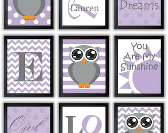 Purple Grey Gray Owl Nursery Art Mix Match Nursery Print Polka Dots Baby Art Child Kids Wall Art Owl Nursery Decor