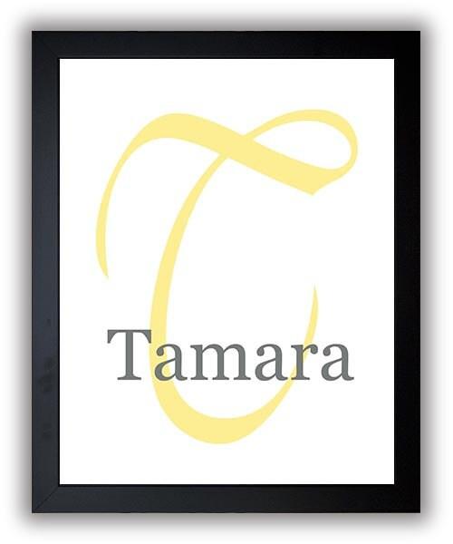 Monogram Custom Name Print Customized Pink Personalized Yellow Nursery Art Nursery Print Nursery Dec