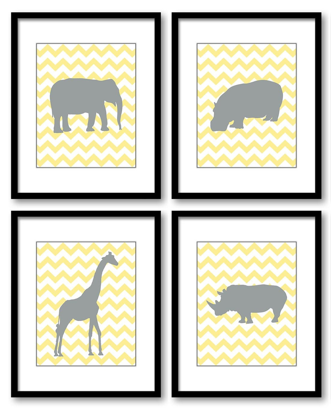 Yellow Grey Nursery Art Nursery Print Baby Art Africa African Animals Set of 4 Prints Safari Jungle