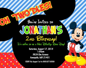 Mickey Mouse Birthday Party Invitation - Digital or Printed