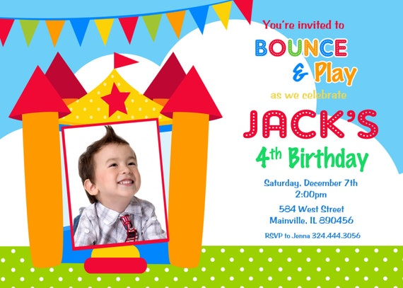 bounce house birthday party invitation    bouncy castle