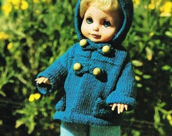 """Dolls clothes knitting pattern for 10"""",12,"""" &14"""" doll. PDF for Instant download."""