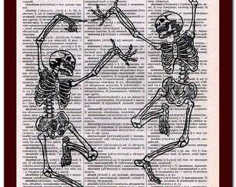 Dancing Skeleton Collage Print Wall Decor Art Print Mixed Media Digital  upcycled musical Notes Art Print