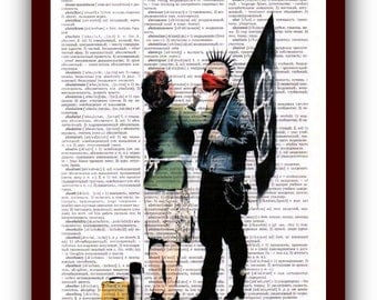 Banksy  Poster Home Art Print : urban street art of graffiti upcycled dictionary pages musical Notes Art Print
