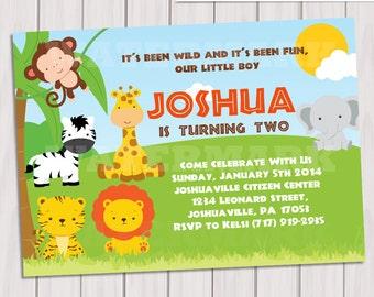 Jungle Birthday Invitation / Safari Birthday invitation/ Jungle Safari Invite / Zoo Birthday Invitation / Printable DIY PDF