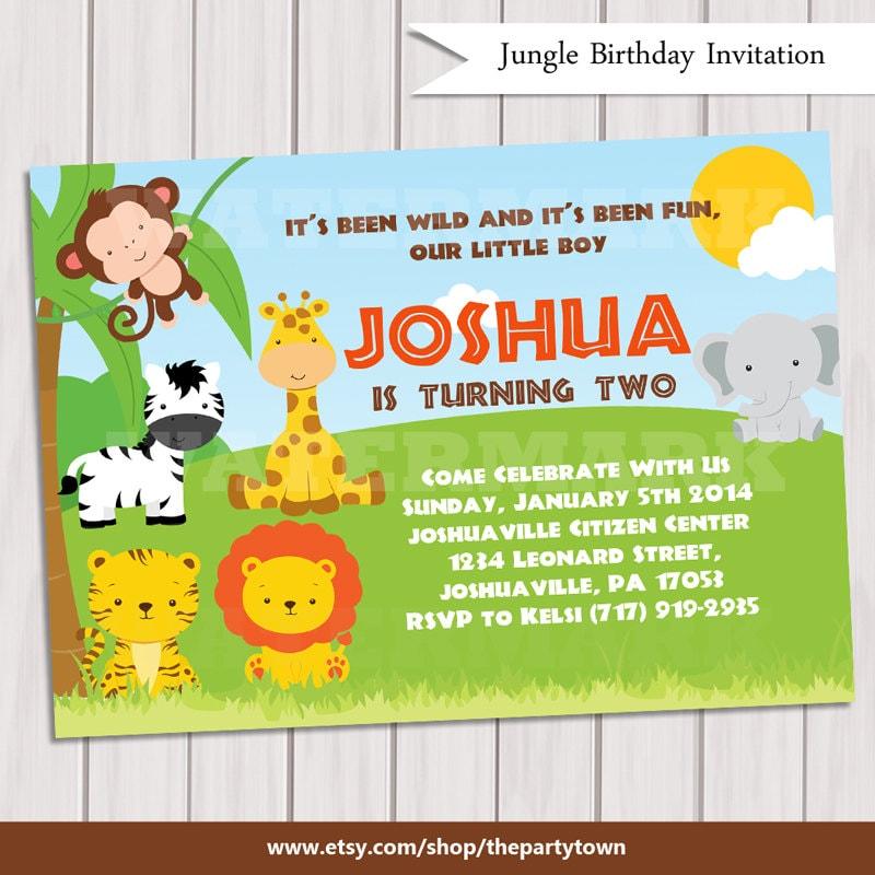 Jungle Birthday Invitation / Safari Birthday Invitation/