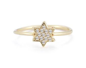 Star Of David Ring - Diamond Star Of David Ring - Gold Star Of David Ring - Jewish Star - Magen David - Jewish Jewelry