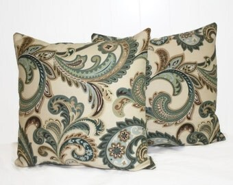 Decorative Tan and Green Floral Pillow Cover, Throw Pillow