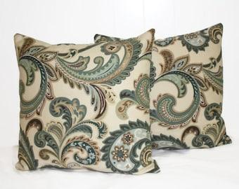 Decorative 12x18 Tan and Green Pillow Cover Throw Pillow
