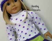 American Girl doll clothes, 18 inch doll clothes, white sweater w/purple dots, purple/green ruffle skirt, and white crocheted hat***