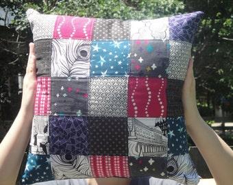 Jewel Toned Patchwork Pillow