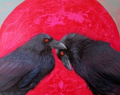 3 RAVEN Crowing Together CARDS -  pack of three