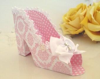 10 Pink Damask Wedding Favor Shoe Box, Pink Bridal Shower Favor Shoe Box, Paper Shoe, Paper Shoe Favor, Pink Paper Shoe Favor, Wedding Favor