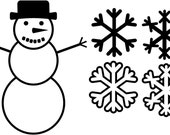 Snowflake and Snowman Vector Clipart for use with hobby cutter and scrap booking