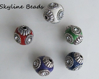Indonesia Beads, Handmade, Mixed Colors with Rhinestones & Silver Metal Embellishments - 14mm x 15mm