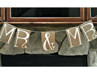 Mr and Mr Sign Brown Kraft Paper Banner Bunting