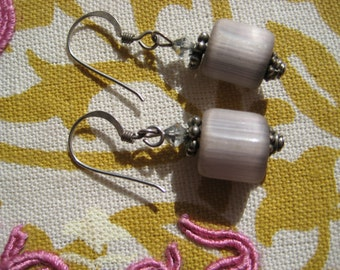 gray square earrings sterling and stone
