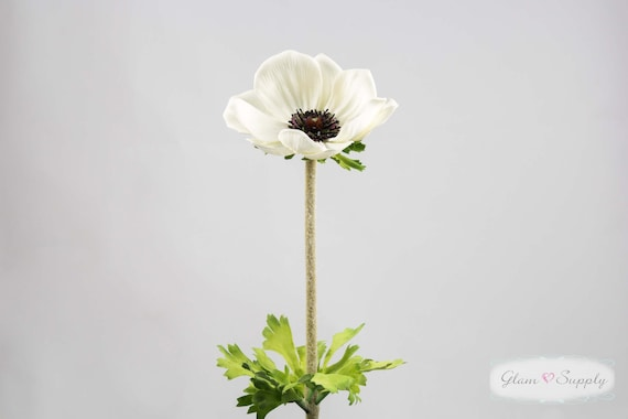 "Real Touch Anemone Stem in Cream White, 24"" tall,  DIY Bride, Do It Yourself, Home Decoration"