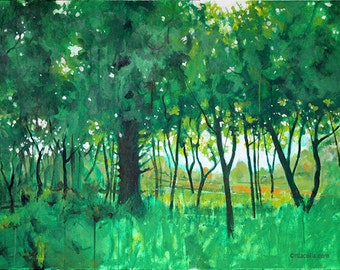 """large green """"Beacon in late Spring"""" painting 40"""" x 30"""""""