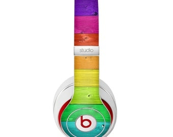 The Rainbow Highlighted Wooden Planks Skin for the Beats by Dre Headphones (All Versions Available)