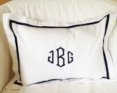 Monogram Boudoir Pillow Sham with Ribbon / Monogram Bedding / Baby Gift / Boudoir Pillow / Lumbar