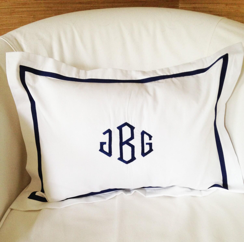 Monogram Boudoir Pillow Sham With Ribbon Trim Monogram