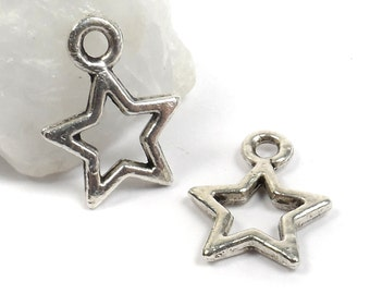 5 Small Open Star Charms, Tibetan Silver, Antique Silver 10mm C35