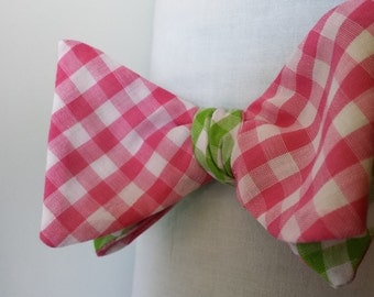 Pink and Green Reversible Bow Tie