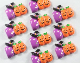 Cute 10pcs Pumpkin Boo w/hat Halloween Cabochons Resin Flatbacks Scrapbooking Girl Hair Bow Center Crafts Making Embellishments DIY
