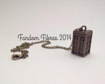 Antique Bronze TARDIS Necklace