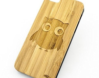 Bamboo Wood Case Cover for Apple iPhone 5/5S Cute Owl tribal ethnic nocturnal