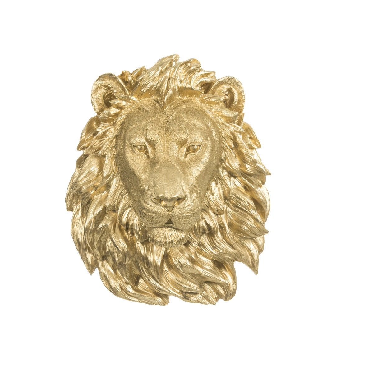 gold resin lion head wall decor animal wall mount resin faux. Black Bedroom Furniture Sets. Home Design Ideas