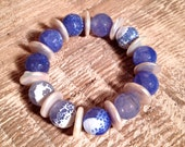 Blue Fire Agate Stretch Bracelet with White OR Grey-Blue Coin Pearls 14mm
