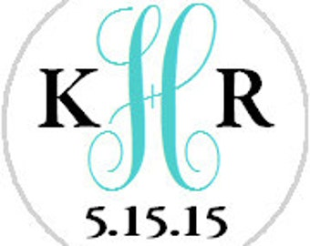 Wedding Monogram Sticker Sheet - Any Color! fits Hershey Kisses®