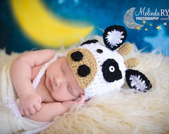 Crochet Little Cow Beanie/ PhotoProp/ Cow Beanie/ Made to Order