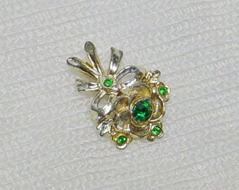 Gold Flower Bouquet Vintage Brooch with Emerald Green Rhinestones