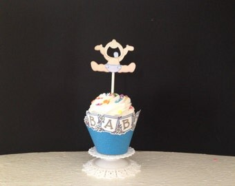 Baby shower decorations, Screaming boy cupcake topper and wrapper