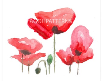 Watercolor POPPIES -  instant download