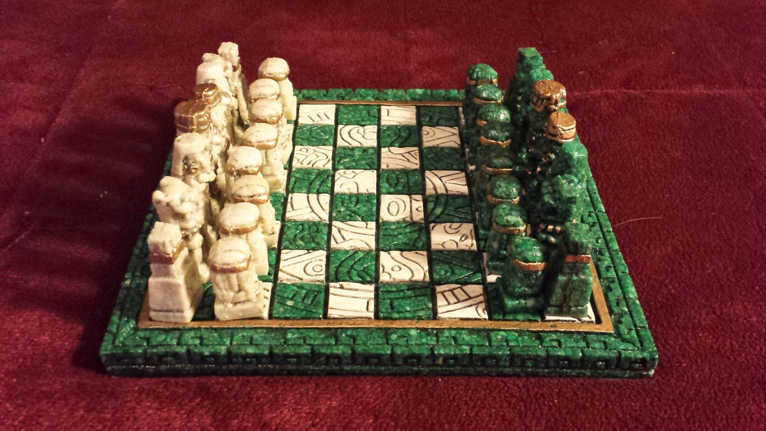 Vintage chess set stone carved aztec chess by yellowbirdthrifts - Granite chess pieces ...